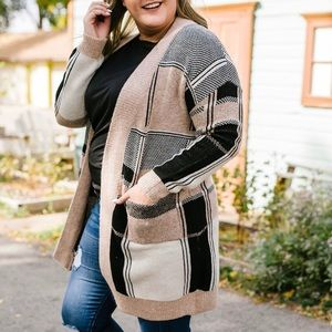 Patch Me In Open Front Cardigan